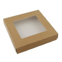 BROWN KRAFT HINGED TART BOX WITH WINDOW