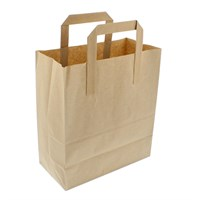 BROWN KRAFT PAPER CARRIER BAGS 8.5 + 4.5 X 10 INCH OUTER HANDLES