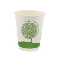 12OZ LEAF COMPOSTABLE SINGLE WALL DISPOSABLE COFFEE CUPS