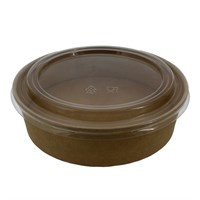 900ML BROWN KRAFT COMPOSTABLE SALAD BOWL LID