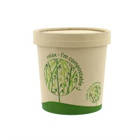 LEAF 12OZ BAMBOO COMPOSTABLE SOUP CURRY FOOD CUP & LID COMBO