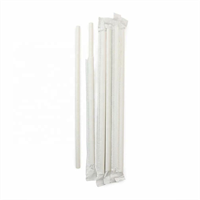 LEAFWARE WHITE COMPOSTABLE PAPER STRAW WRAPPED