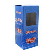 Olympia Black Plastic Flexible Bendy Drinking Straws