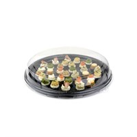16 INCH ROUND BLACK BASE PLATTER WITH CLEAR DOME LID