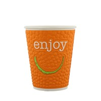 12OZ ENJOY EMBOSSED DOUBLE WALL DISPOSABLE COFFEE CUP IN VARIOUS COLOURS