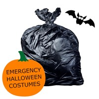 :) EMERGENCY HALLOWEEN COSTUMES - AKA 26 X 44 INCH BLACK HEAVY DUTY REFUSE SACKS